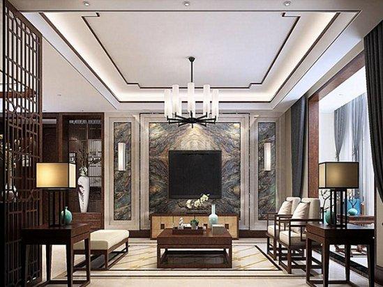 现代窗帘图片 现代中式设计客厅红木沙发