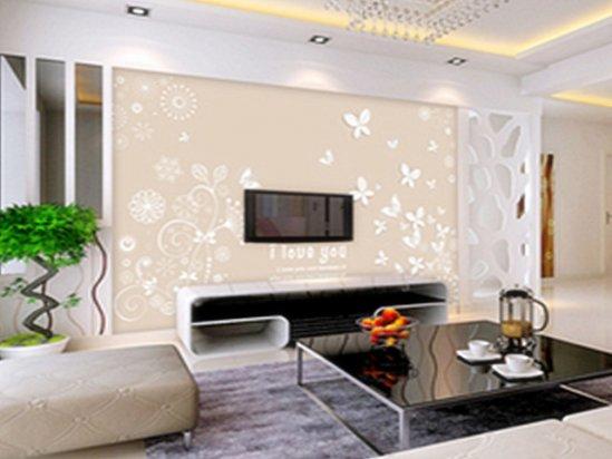 电视墙壁布装修效果图大全 壁纸团购活动