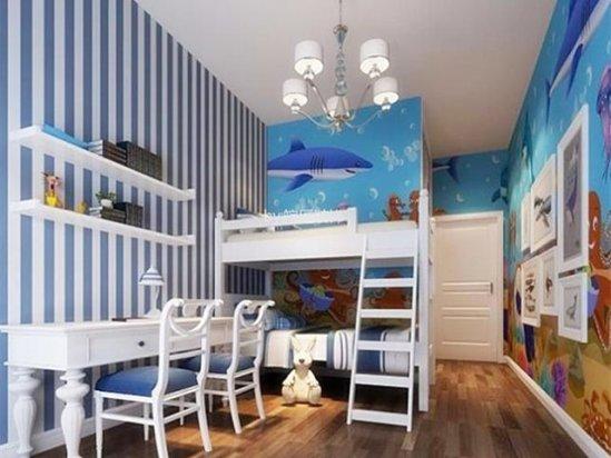 儿童房装修效果图 小户型兄妹房隔断设计