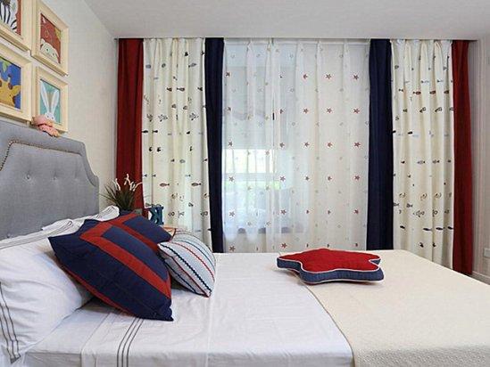 装修设计别墅 男孩子卧室窗帘效果图大全