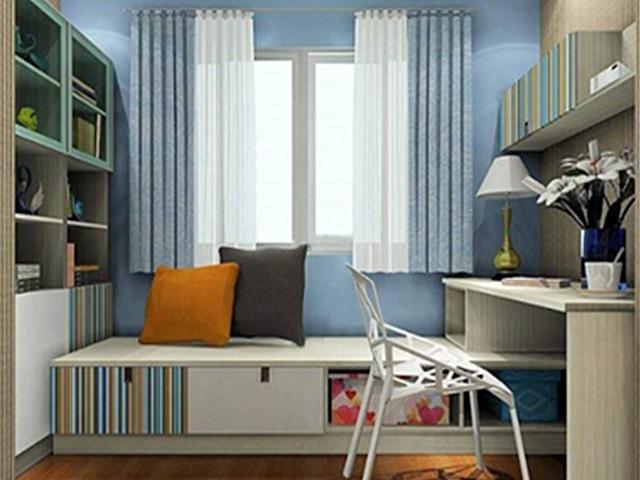 【书房设计效果图】多功能卧室兼书房一体装修