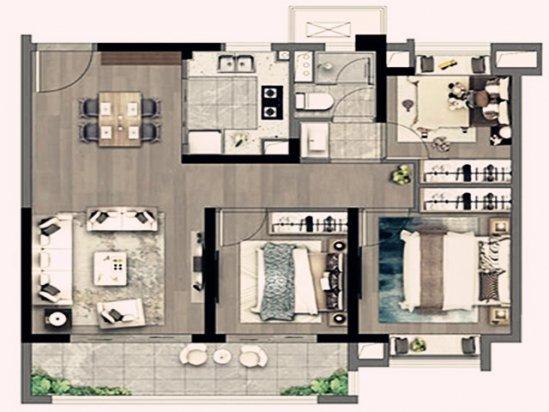 【豪华家装效果图】93平方三室一厅户型图