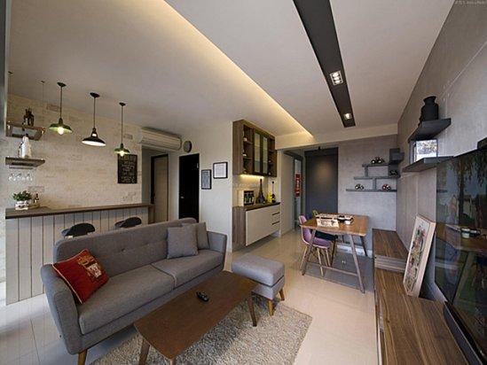 【百叶窗帘图片】35平米一室一厅装修效果图