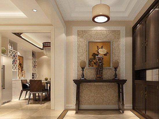 客厅影视墙效果图 黑白灰风格玄关设计图
